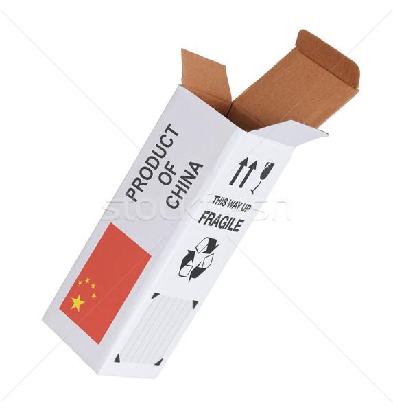Export termék Kína kinyitott papír doboz Stock fotó © michaklootwijk