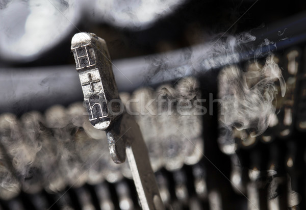H hammer - old manual typewriter - mystery smoke Stock photo © michaklootwijk