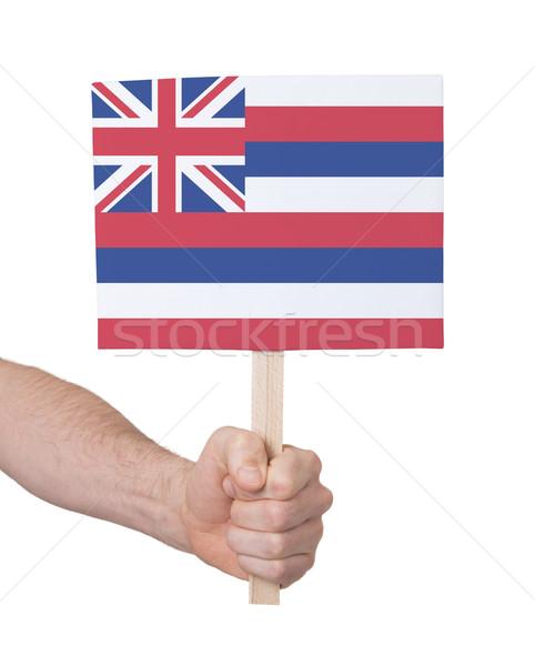Kéz tart kicsi kártya zászló Hawaii Stock fotó © michaklootwijk