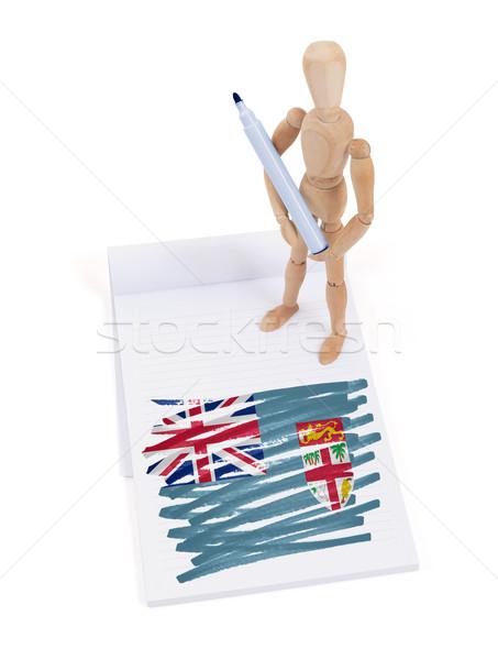 Legno mannequin disegno Fiji bandiera carta Foto d'archivio © michaklootwijk