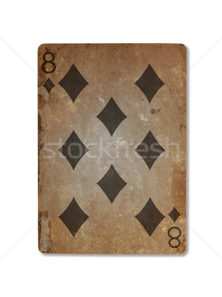 Vecchio giocare carta otto diamanti isolato Foto d'archivio © michaklootwijk