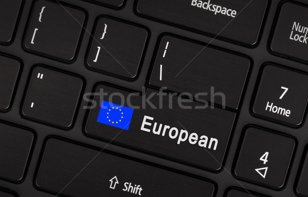 Enter button with flag EU - Concept of language Stock photo © michaklootwijk