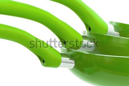 Set of three frying pans, green Stock photo © michaklootwijk