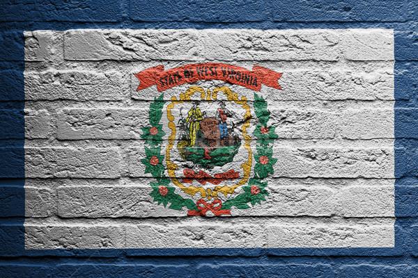 Muur schilderij vlag West Virginia geïsoleerd baksteen Stockfoto © michaklootwijk