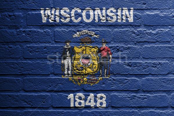 Mur de briques peinture pavillon Wisconsin isolé brique Photo stock © michaklootwijk