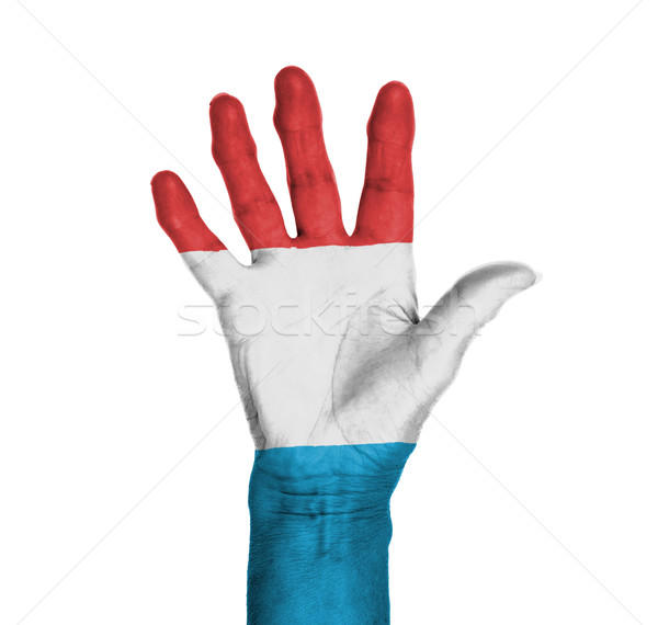 Palm vrouw hand geschilderd vlag Luxemburg Stockfoto © michaklootwijk