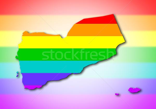 Iémen arco-íris bandeira padrão mapa viajar Foto stock © michaklootwijk