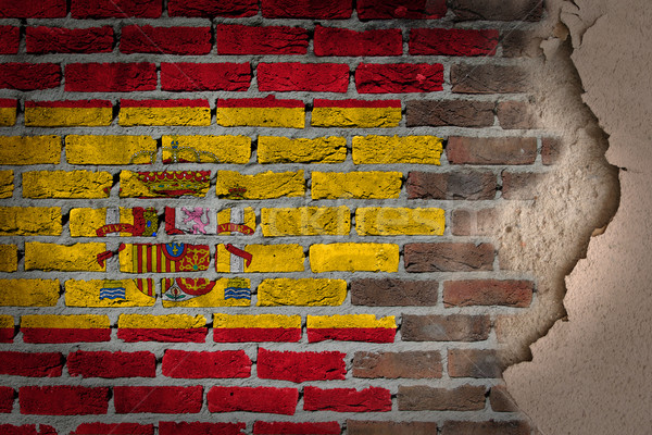 暗い レンガの壁 石膏 スペイン テクスチャ フラグ ストックフォト © michaklootwijk