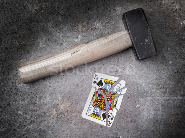 Młotek podziale karty króla pik vintage Zdjęcia stock © michaklootwijk
