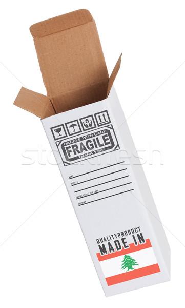 Export termék Libanon kinyitott papír doboz Stock fotó © michaklootwijk