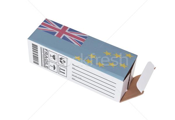 Exportar produto Tuvalu papel caixa Foto stock © michaklootwijk