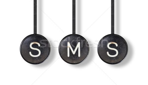 машинку Кнопки изолированный sms белый служба Сток-фото © michaklootwijk