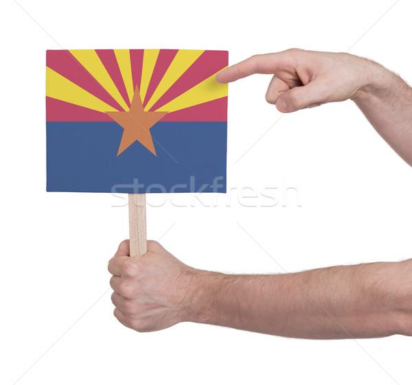 Kéz tart kicsi kártya zászló Arizona Stock fotó © michaklootwijk