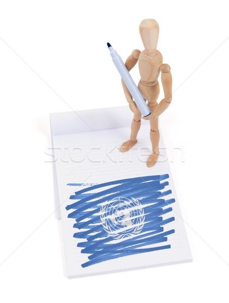 木製 マネキン 図面 国連 フラグ 紙 ストックフォト © michaklootwijk