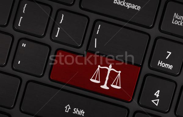 Law symbol (red key) Stock photo © michaklootwijk