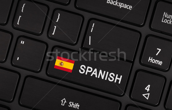 Enter button with flag Spain - Concept of language Stock photo © michaklootwijk