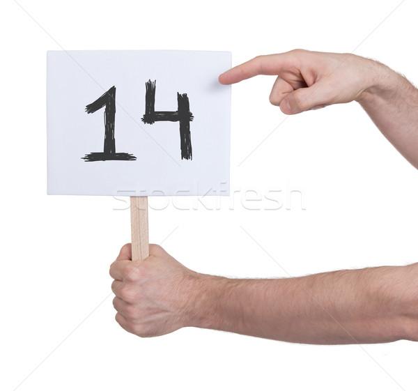 Teken aantal 14 geïsoleerd witte business Stockfoto © michaklootwijk