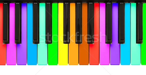 Regenboog pianotoetsen geïsoleerd witte kunst sleutel Stockfoto © michaklootwijk
