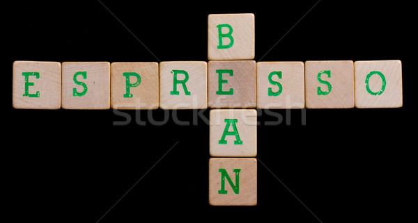 Green letters on old wooden blocks (bean, espresso) Stock photo © michaklootwijk