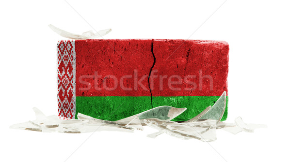 Brick with broken glass, violence concept Stock photo © michaklootwijk