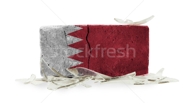 Ziegel Glasscherben Gewalt Flagge Bahrein Wand Stock foto © michaklootwijk