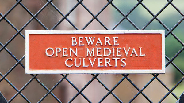 Beware of open medieval culverts Stock photo © michaklootwijk