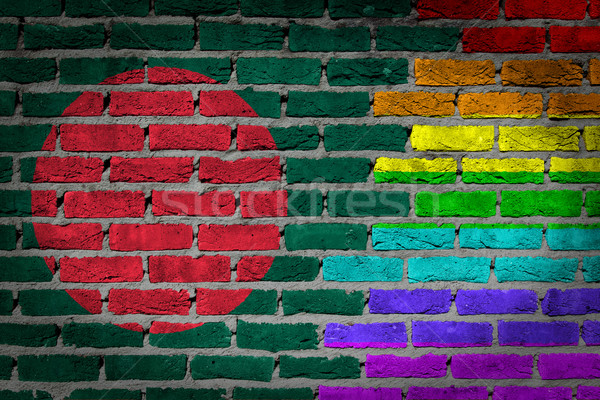 Escuro parede de tijolos direitos Bangladesh textura bandeira Foto stock © michaklootwijk