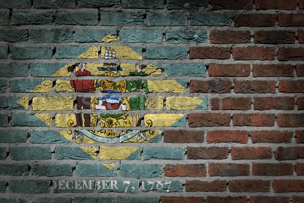 Escuro parede de tijolos Delaware textura bandeira pintado Foto stock © michaklootwijk