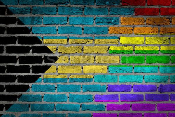 暗い レンガの壁 バハマ テクスチャ フラグ ストックフォト © michaklootwijk