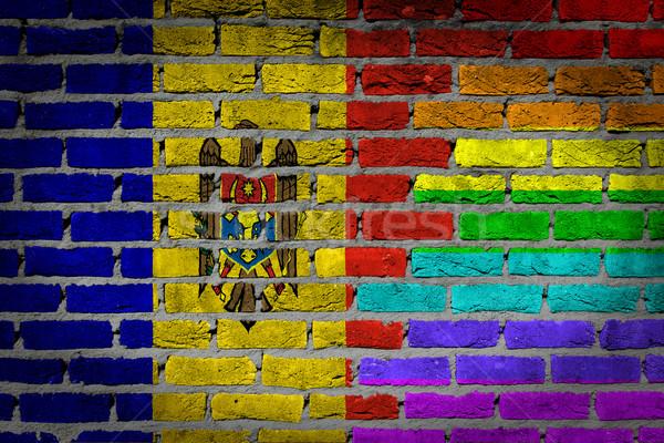 Sötét téglafal jogok Moldova textúra zászló Stock fotó © michaklootwijk