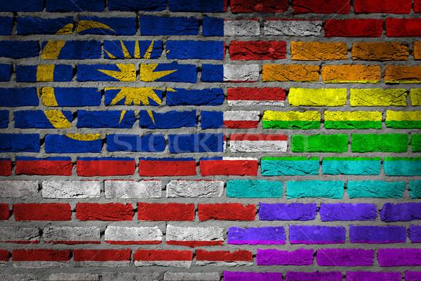 Sötét téglafal jogok Malajzia textúra zászló Stock fotó © michaklootwijk