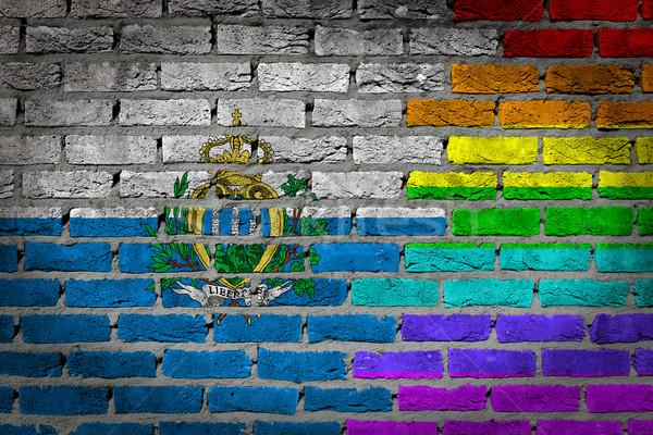 Sötét téglafal jogok San Marino textúra zászló Stock fotó © michaklootwijk