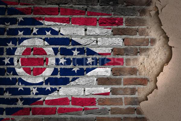 Sötét téglafal tapasz Ohio textúra zászló Stock fotó © michaklootwijk