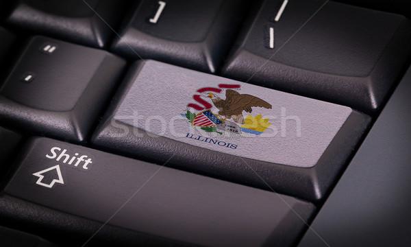 Bayrak klavye düğme Illinois dizayn dizüstü bilgisayar Stok fotoğraf © michaklootwijk