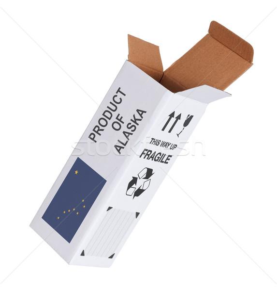 Exportar produto Alasca papel caixa Foto stock © michaklootwijk