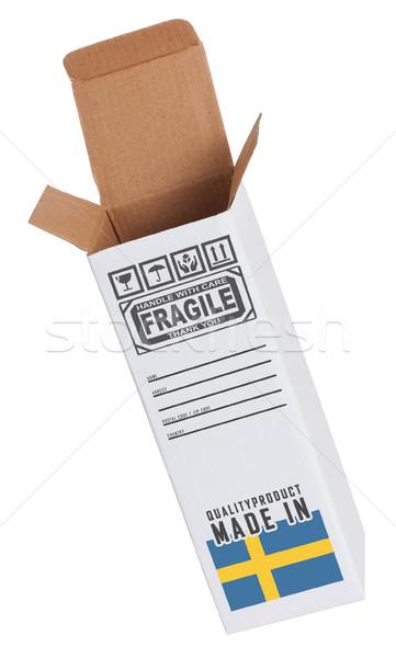 Export termék Svédország kinyitott papír doboz Stock fotó © michaklootwijk