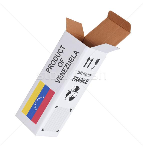 Export termék Venezuela kinyitott papír doboz Stock fotó © michaklootwijk
