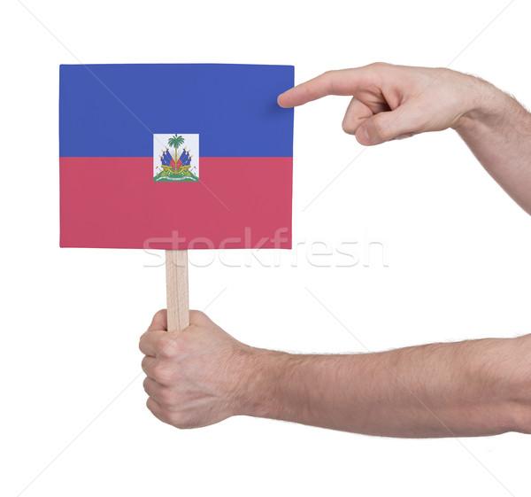 Mano piccolo carta bandiera Haiti Foto d'archivio © michaklootwijk