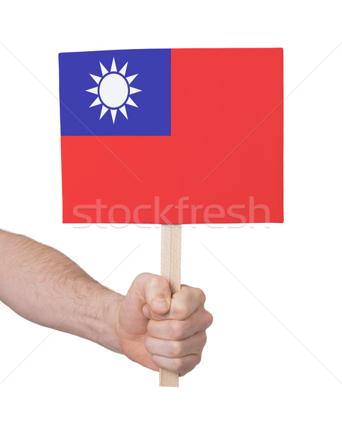 Hand holding small card - Flag of Taiwan Stock photo © michaklootwijk