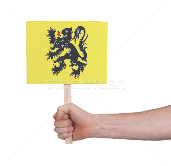 Hand holding small card - Flag of Flanders Stock photo © michaklootwijk