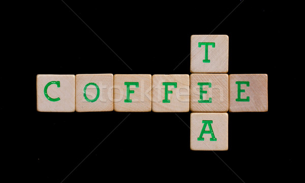 Green letters on old wooden blocks (coffee, tea) Stock photo © michaklootwijk