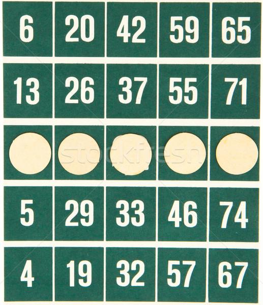 Groene bingo kaart geïsoleerd gebruikt witte Stockfoto © michaklootwijk