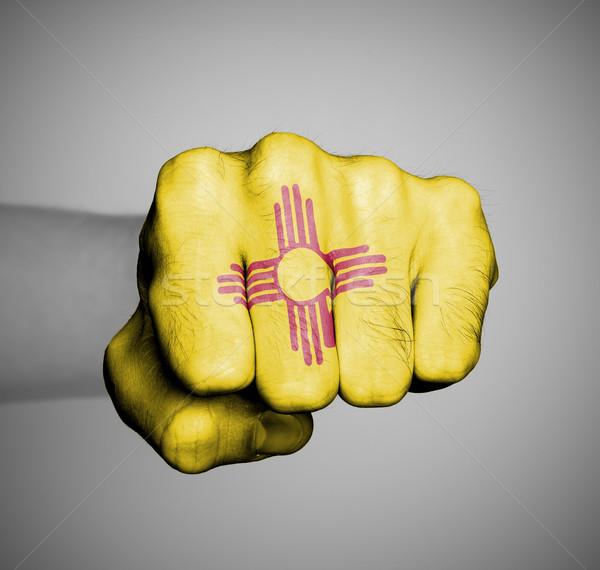 Соединенные Штаты кулаком флаг Нью-Мексико человека спортзал Сток-фото © michaklootwijk