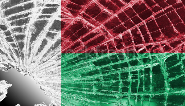 Broken glass or ice with a flag, Madagascar Stock photo © michaklootwijk