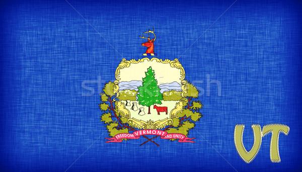 Bandera Vermont abreviatura árbol tejido Foto stock © michaklootwijk