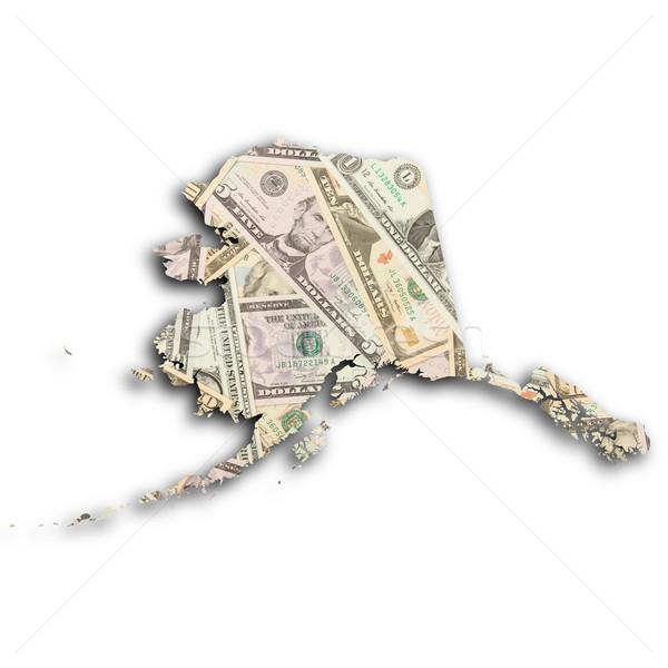 карта Аляска деньги знак черный белый Сток-фото © michaklootwijk