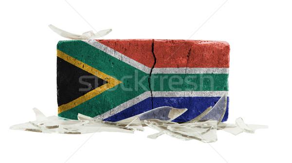 Brique verre brisé violence pavillon Afrique du Sud mur Photo stock © michaklootwijk