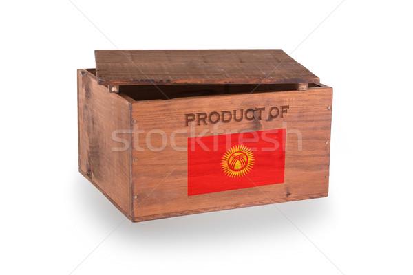 Stock fotó: Fából · készült · láda · izolált · fehér · termék · Kirgizisztán