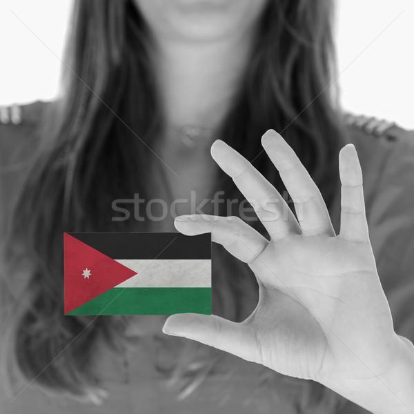 Vrouw tonen visitekaartje zwart wit Jordanië ruimte Stockfoto © michaklootwijk