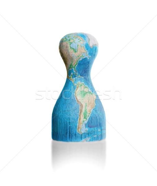 Fából készült gyalog festmény térkép Föld festék Stock fotó © michaklootwijk